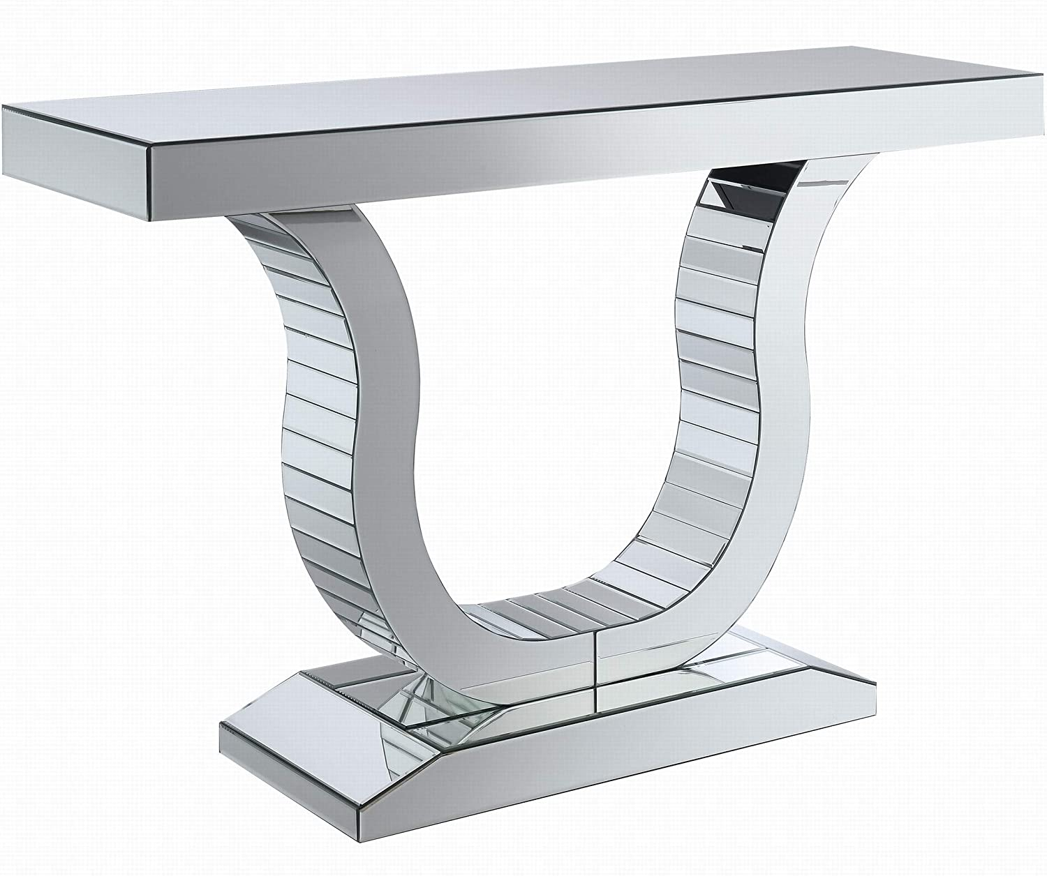 Coaster Home Furnishings Coaster Contemporary U Shaped Base Silver Console Table with Mirrored Panels, 47.25