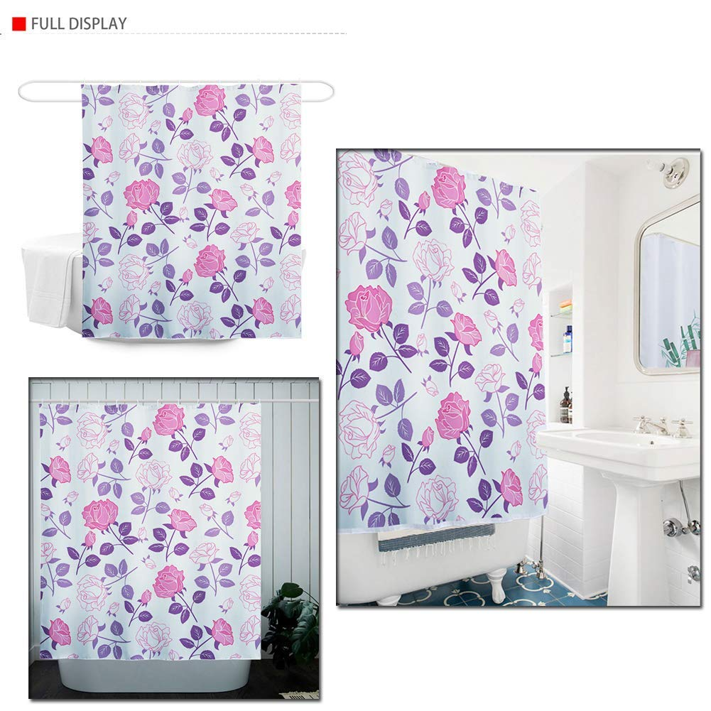 Micandle Dolphin Pattern Design Shower Curtains Waterproof Bathroom Decorative Curtain with Hooks,71 x 66 Inches