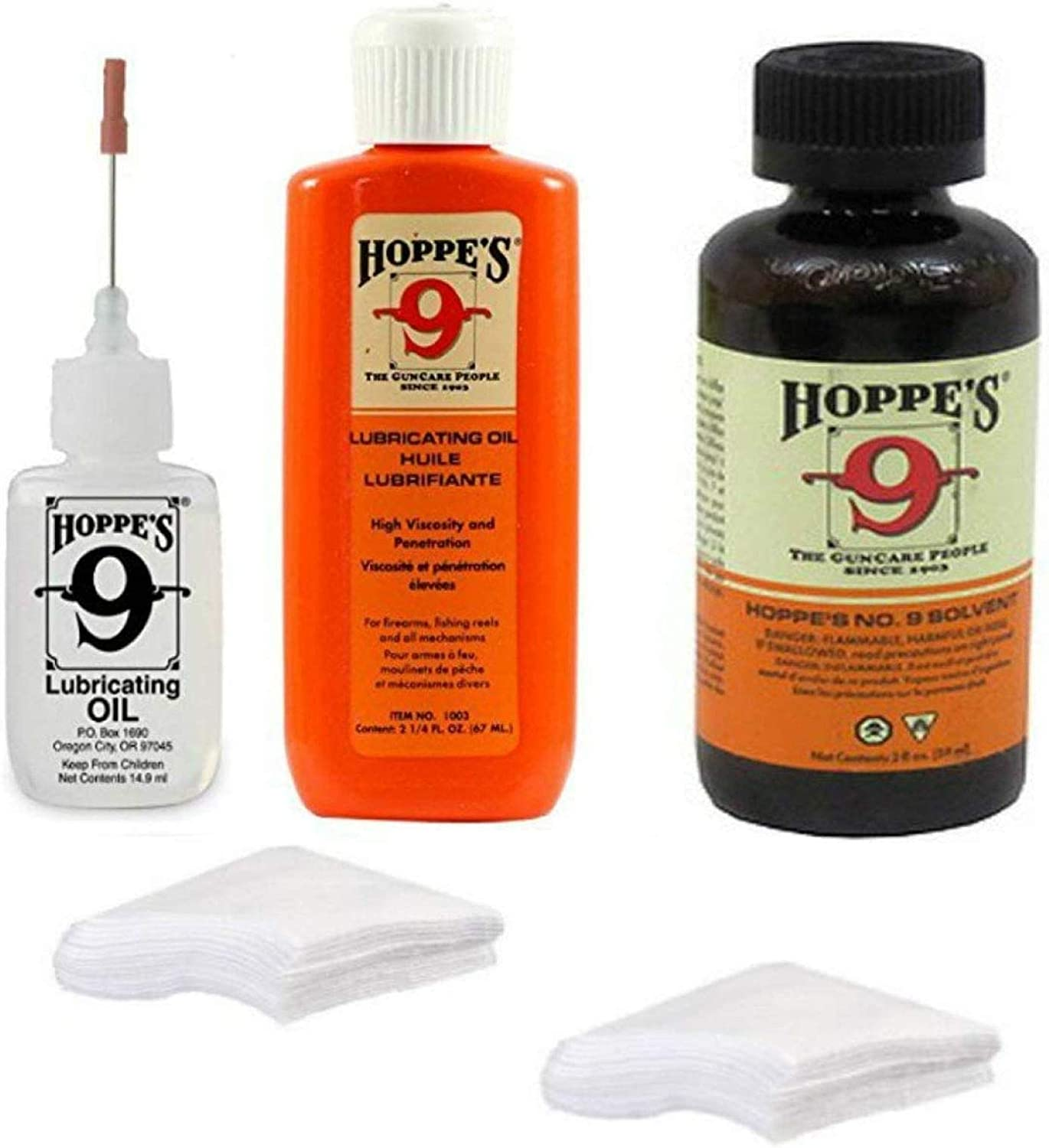 Hoppes 9 Elite Gun Cleaning kit - Gun Bore Cleaner and Lubricant Oil with 14.9 ML Precision Lubricator and 25-40 Patches for .38, 9mm.40.44 and .45 Caliber : Sports & Outdoors
