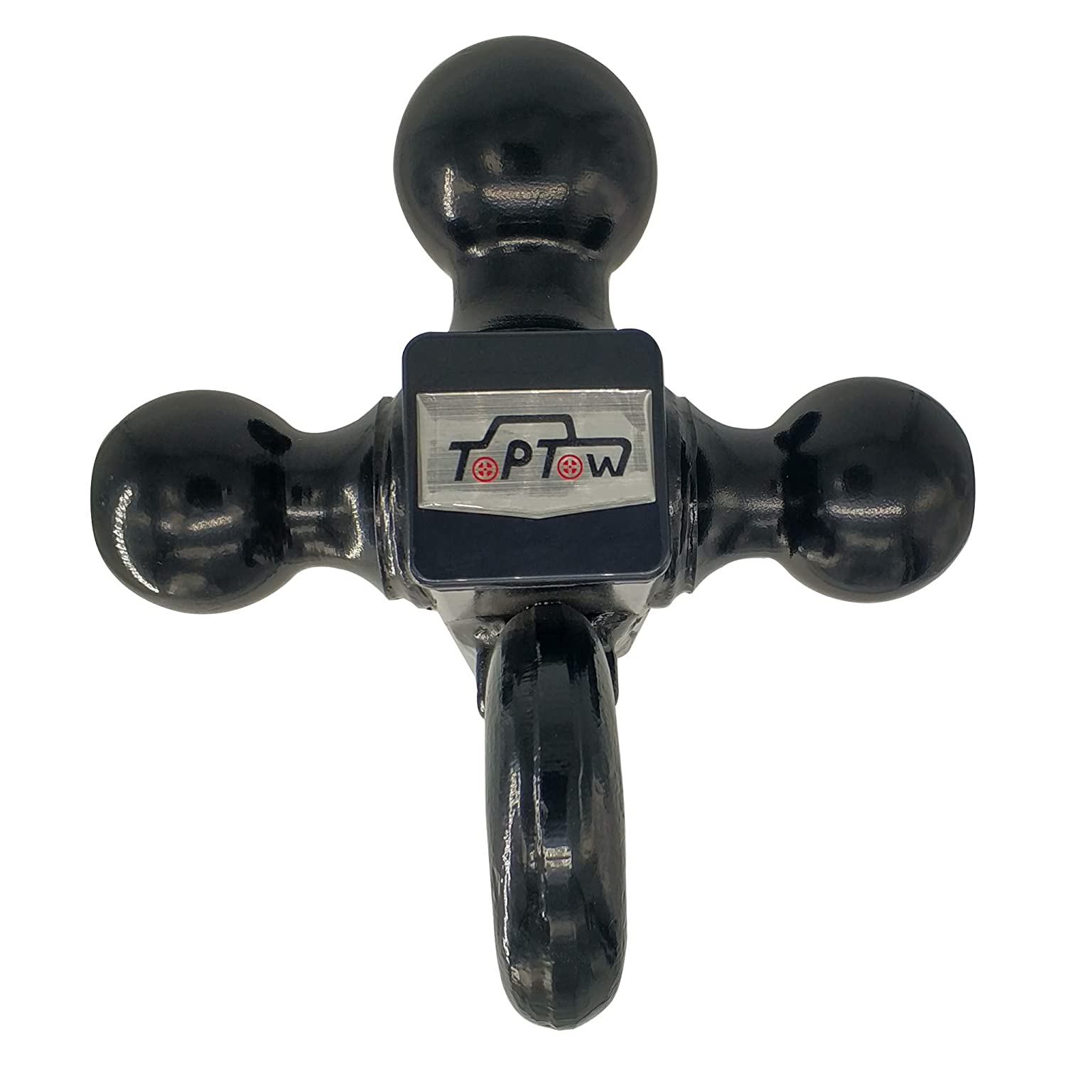 Toptow 64181 Trailer Receiver Hitch Triple Ball Mount with Hook Black Balls Fits for 2 inch Receiver