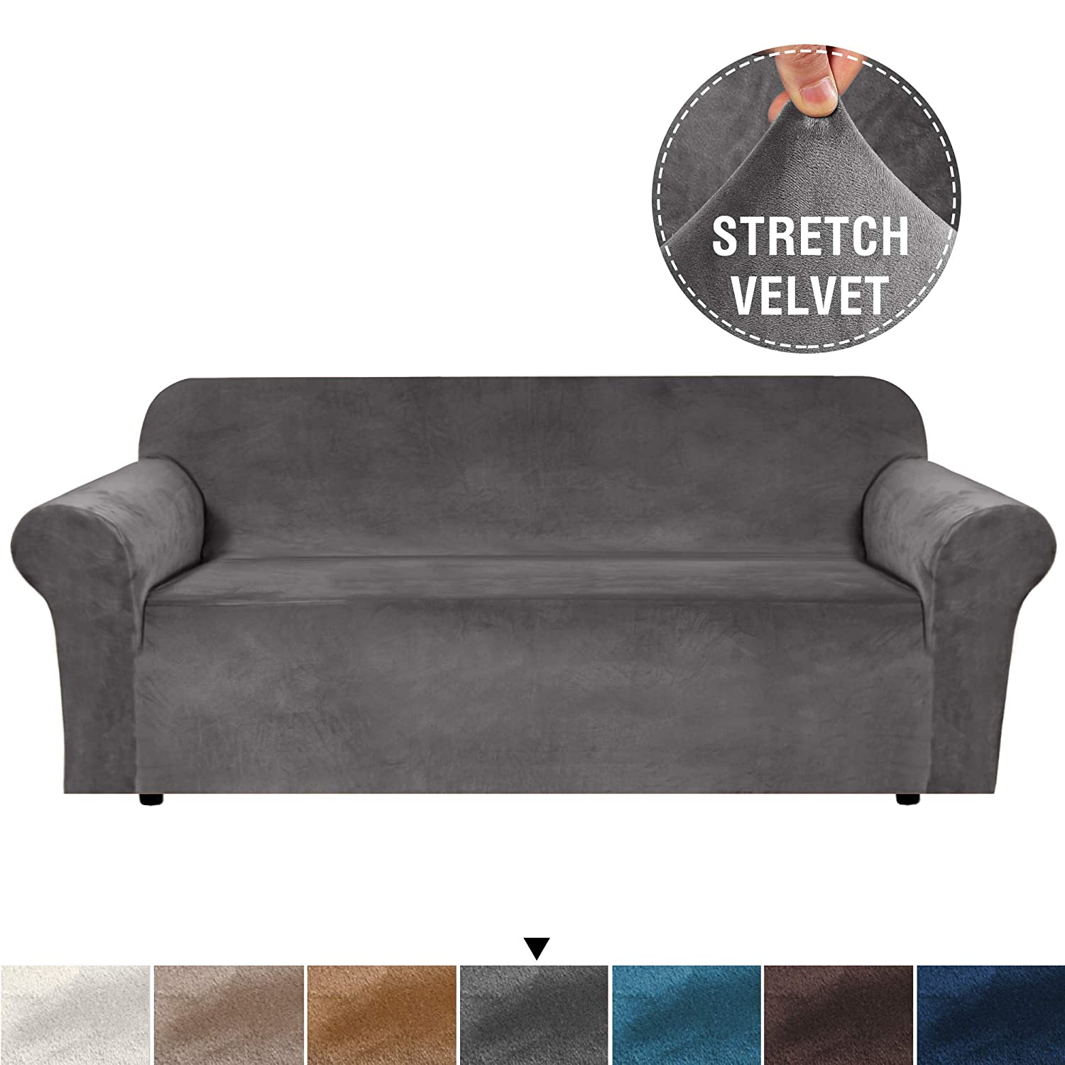 H.VERSAILTEX Ultra Velvet Plush Stretch Slipcovers Protector for Extra Wide Sofa Featuring Soft and Rich Fabric Sofa Covers Furniture Covers with Elastic Bottom, Anti-Slip Straps, Solid Grey, 4 Seat