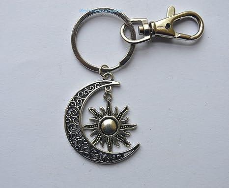 Llavero, diseño de luna y sol, luna llavero, llavero de ...
