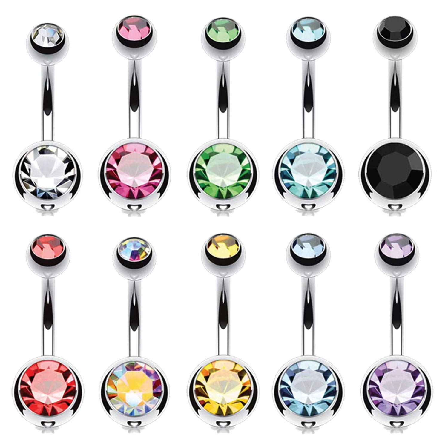 BodyJ4You 12PCS Belly Button Ring Sets Multicolor CZ Created-Opal Steel Navel Bar Value Pack