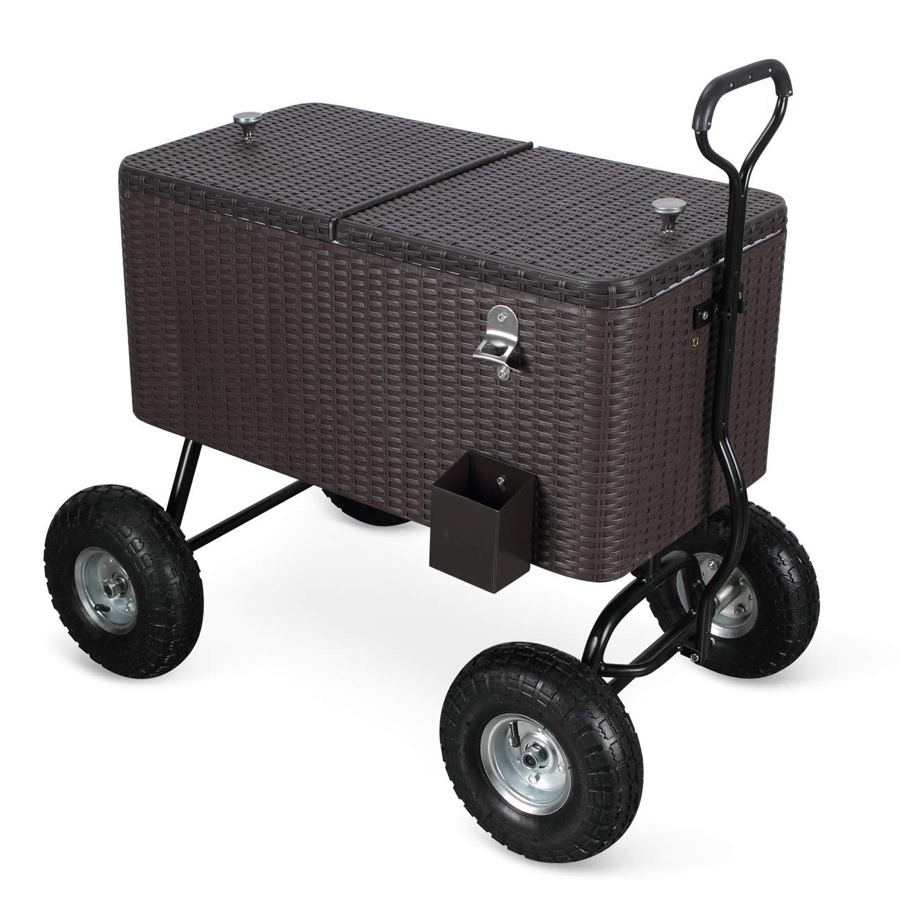 Belleze 80 Qt Portable Rolling 10' All Terrain Wheels Outdoor Backyard Party Beach Drink Cooler (Rattan) by Belleze