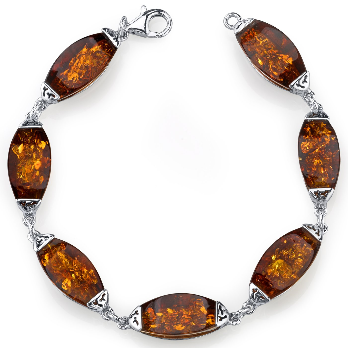 Baltic Amber Gallery Bracelet Sterling Silver Cognac Color by Peora