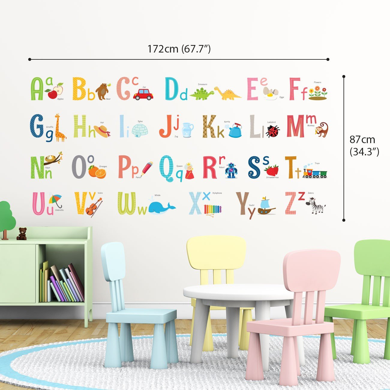 Decowall DS-8023 Alphabet ABC with Pictures Kids Wall Stickers Wall Decals Peel and Stick Removable Wall Stickers for Kids Nursery Bedroom Living Room Small