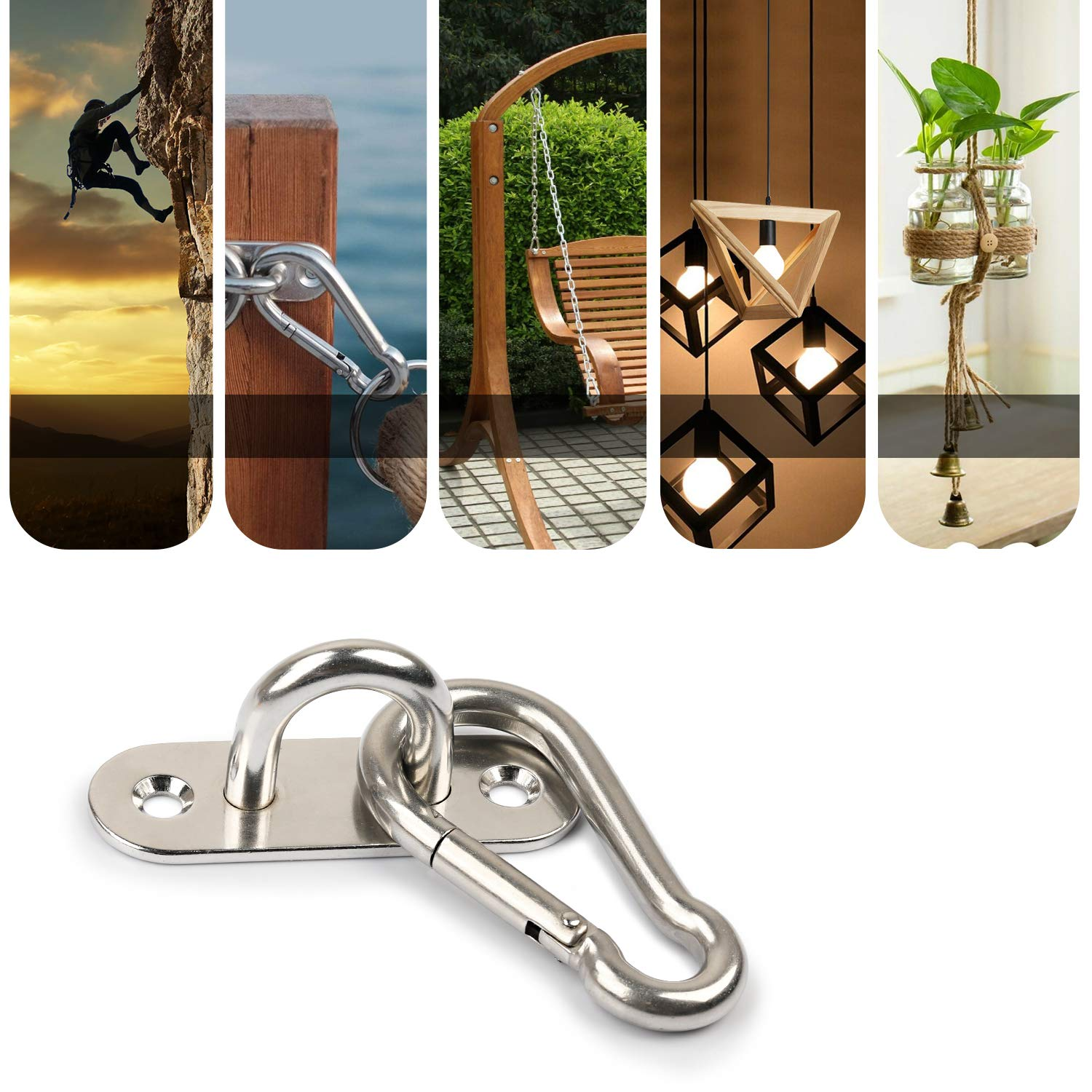 3.1 Inch 304 Stainless Steel Spring Snap Hook and Ceiling Hook Set Heavy Duty Carabiner Clips Pad Eye Plate Staple Hook with Screws for Boat Application Loop Wall Mount Swing Hammock Camping
