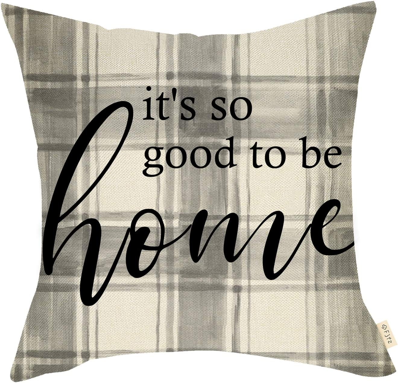 Fjfz Rustic Farmhouse Decorative Throw Pillow Cover It's Good to be Home Black White Buffalo Checker Plaid Sign Country Style Decoration Home Décor Cotton Linen Cushion Case for Sofa Couch 18