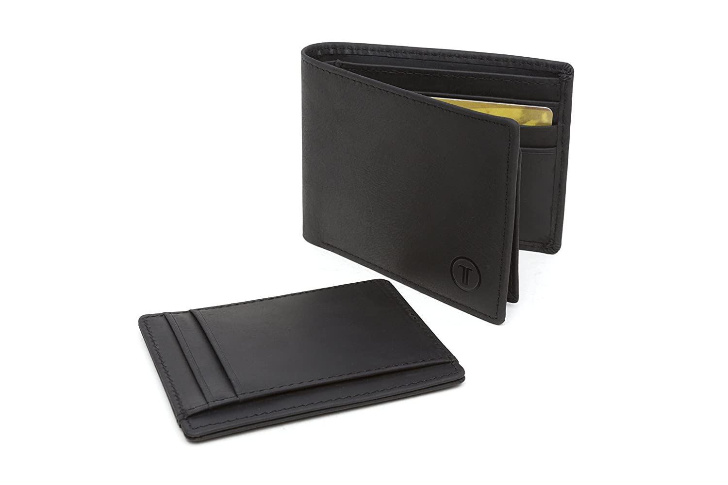 Travami RFID Blocking Leather Passcase Wallet with Removable Card Case | Black