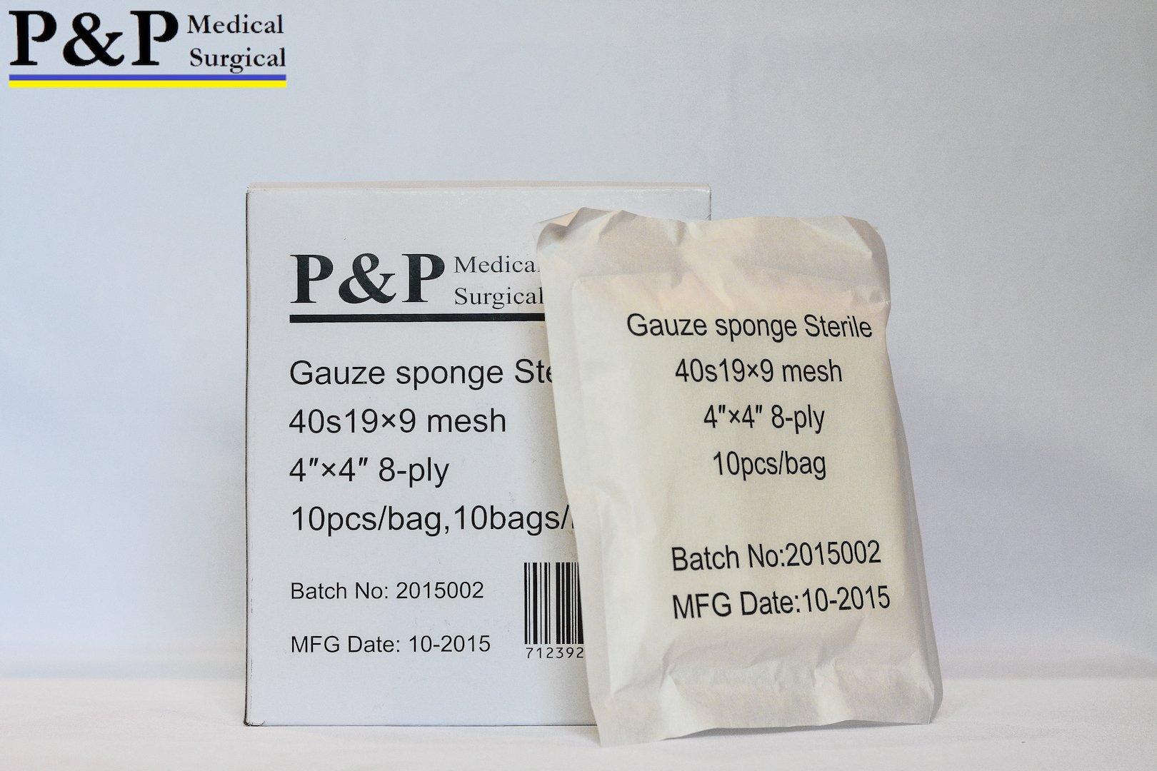 GAUZE SPONGE COTTON STERILE 8 ply (Grade Class I(a) cotton raw used for production)_4 x 4 _ 10 boxes = 1000 pads (10 Pcs/bag, 10 bags/box) _ MANUFACTURED BY P&P MEDICAL SURGICAL LLC