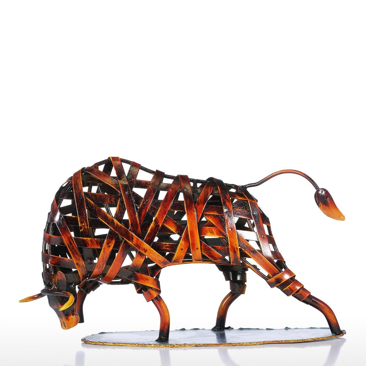 Tooarts Vache Tressées SculptureenMétal Sculpture Abstraite Maison Ameublement Articles Artisanat Rouge