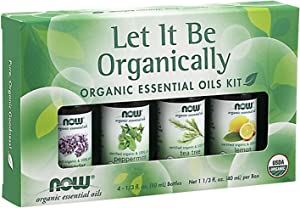 NOW Essential Oils, Let It Be Organically Kit, 4x10ml Including: Organic Lavender, Organic Tea Tree, Organic Peppermint and Organic Lemon Essential Oils With Child Resistant Caps