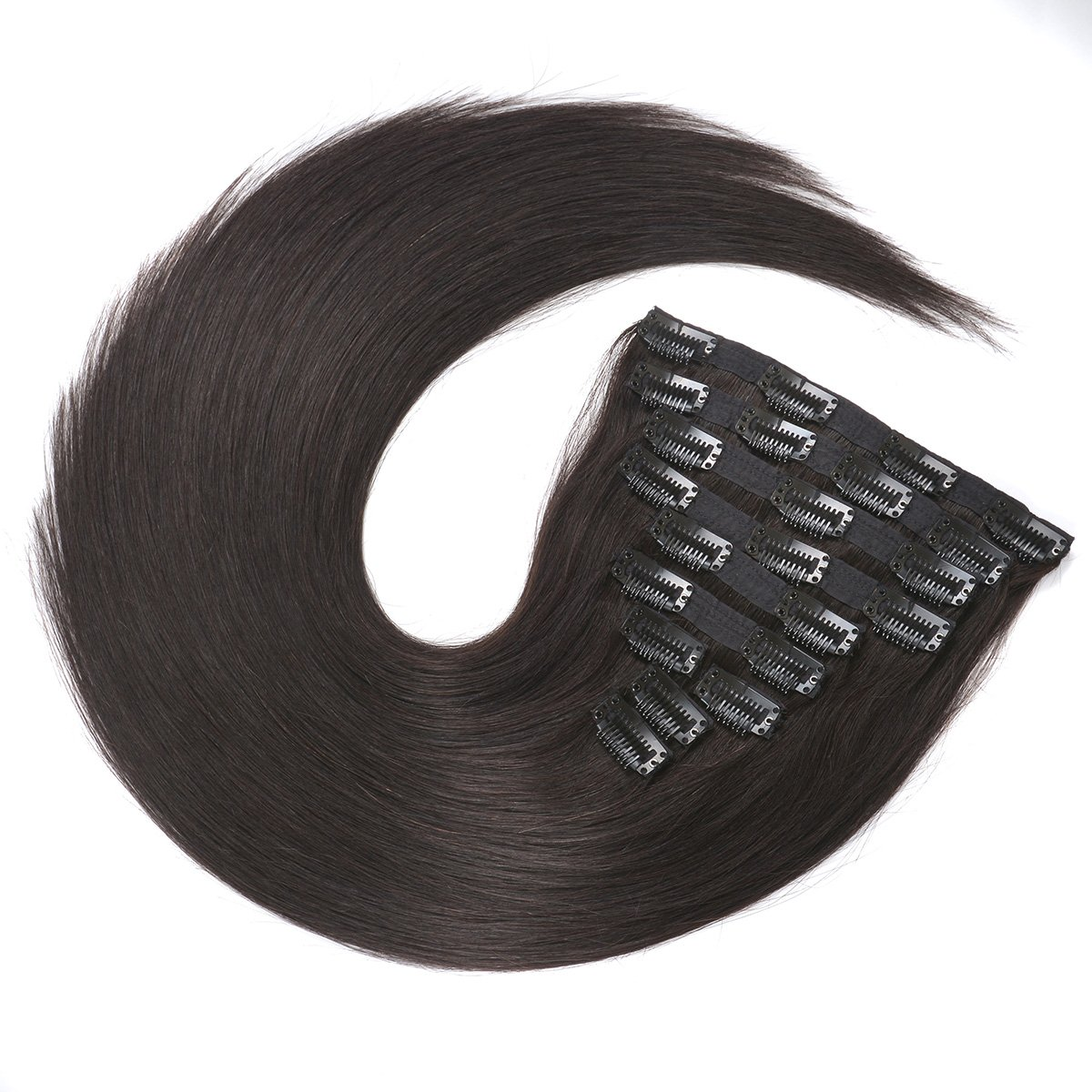 20'' Clip in Human Hair Extensions Natural Hair Clip in Extensions for Thick Hair Full Head Off Black #1B 10pieces 220grams/7.7oz by BEAUTY PLUS (Image #4)