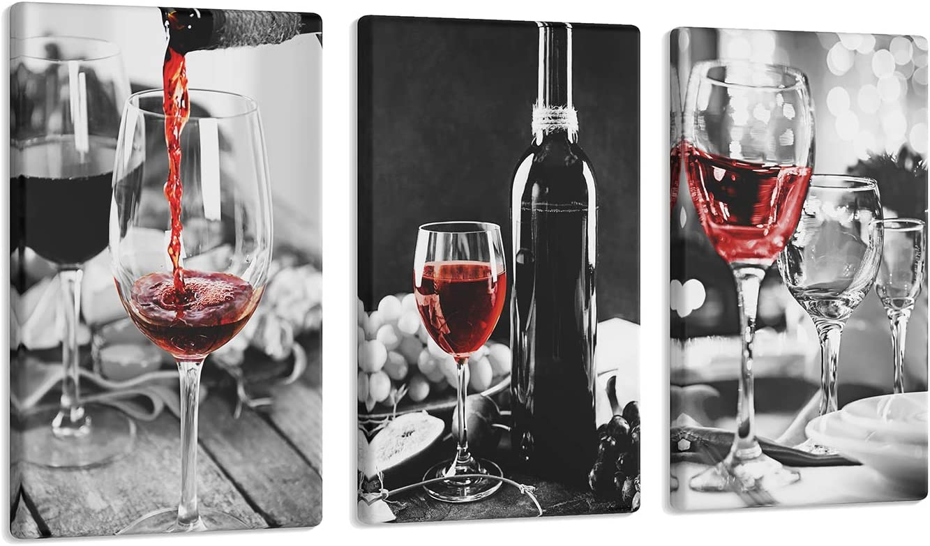 3 Pcs Red Wine Kitchen Wall Art Black and White Wine Glasses Canvas Art Paintings Pictures with Wood Inner Frame for Dining Living Aesthetic Room Decor (C, 8X12Inchx3Pcs)