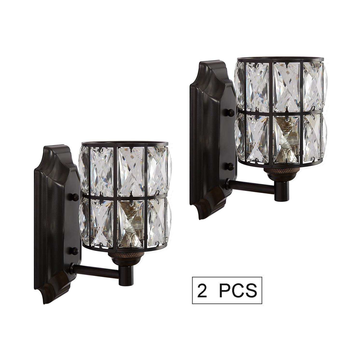 Doraimi 1 Light Prism Crystal Wall Sconce Lighting with Painting Black Finish Set of 2 , Modern Wall Light Fixture with Crystal Plate Shade for Bath Room, Bed Room. LED Bulb not Include