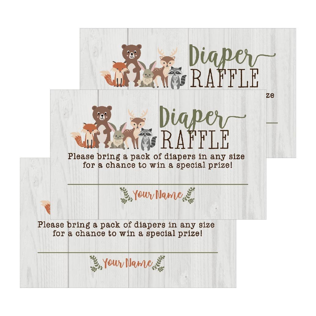 25 Woodland Animals Diaper Raffle Ticket Lottery Insert Cards For Girl or Boy Baby Shower Invitations, Supplies and Games For Gender Reveal Party Bring a Pack of Diapers to Win Favors Gifts and Prizes