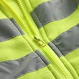 Mens Road Work High Visibility Pullover Long Sleeve Zip Hooded Sweatshirt Tops