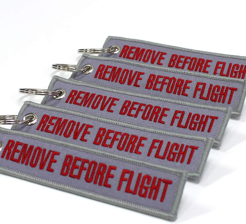 Remove Before Flight Keychain Rotary13B1 Gray//Red 5pcs