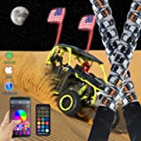 omotor 2PC 3FT Bluetooth and Remote Control 360° Spiral LED Whip Lights w/Flag [21 Modes] [20 Colors] [Weatherproof…