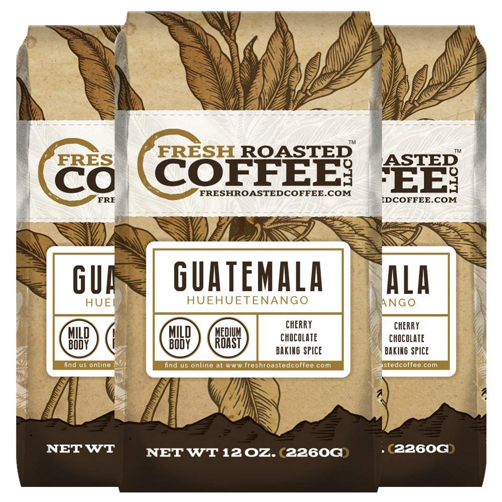 Guatemala Huehuetenango Coffee, 12 oz. Whole Bean Bags, Fresh Roasted Coffee LLC. (3 Pack) by FRESH ROASTED COFFEE LLC FRESHROASTEDCOFFEE.COM