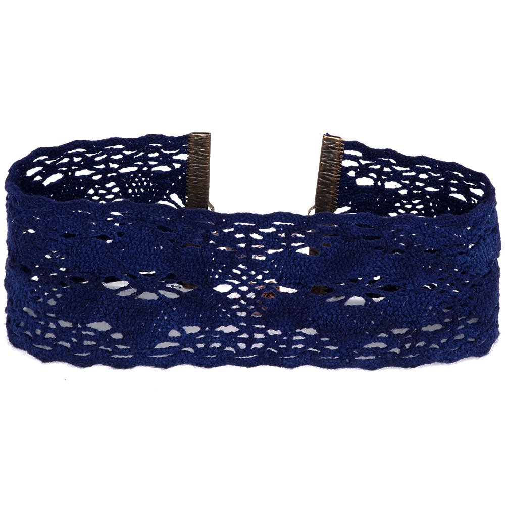 Twilight's Fancy Wide Floral Cluny Lace Choker Necklace (Navy Blue, XLarge)
