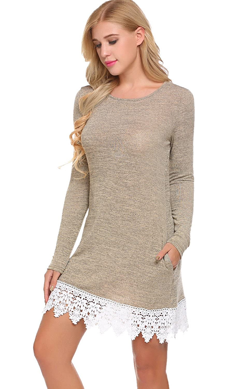 Casual T A Sleeve Shift Shirt Line Dress Lace Pogtmm Women's Long P8kXn0NwO