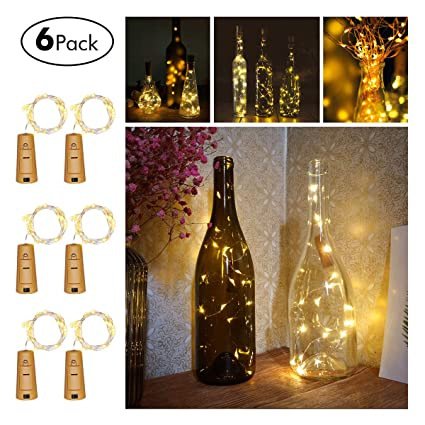 c168f468eeb6 FairyDecor Wine Bottles String Micro Artificial Cork Copper Wire Starry  Fairy, Battery Operated Lights for Bedroom, Parties, Wedding, Decoration(6  ...