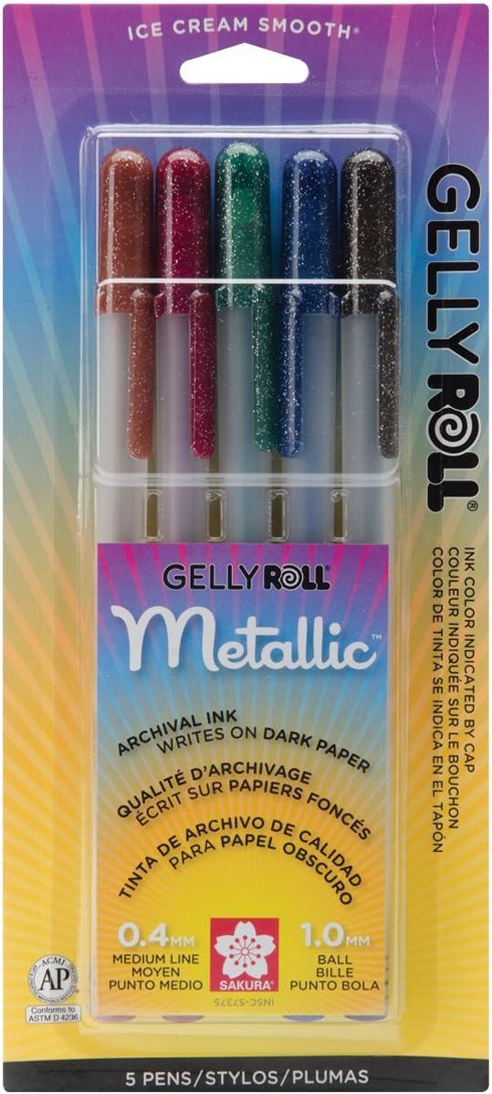 Sakura 57375 5-Piece Gelly Roll Blister Card Assorted Colors Dark Metallic Gel Ink Pen Set