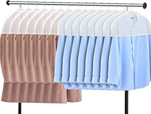 "Zilink Shoulder Covers for Clothes (Set of 15) Breathable Garment Dust Covers Protectors with 2"" Gusset for Suit, Coats, Jackets, Dress Closet Storage"