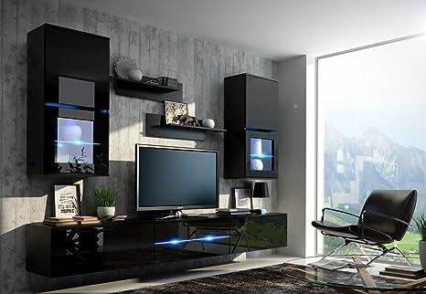HomeDirectLTD ZOE Moderno Juego De Muebles de salón (Negro Mat Base/Negro AB Frente, Blanco LED)