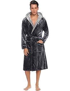 Long Plush Shawl Kimono Bathrobe Nightgown Spa Robe for Winter Hawiton Mens Hooded Robes