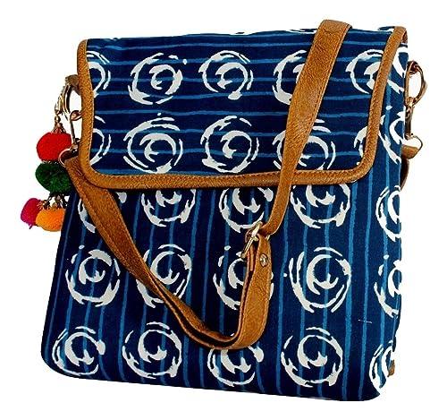 9e7cfd8a4 Lonika Crossbody Bag for Women Canvas+Leather purses Messenger Blue Circle  (Blue Circle)