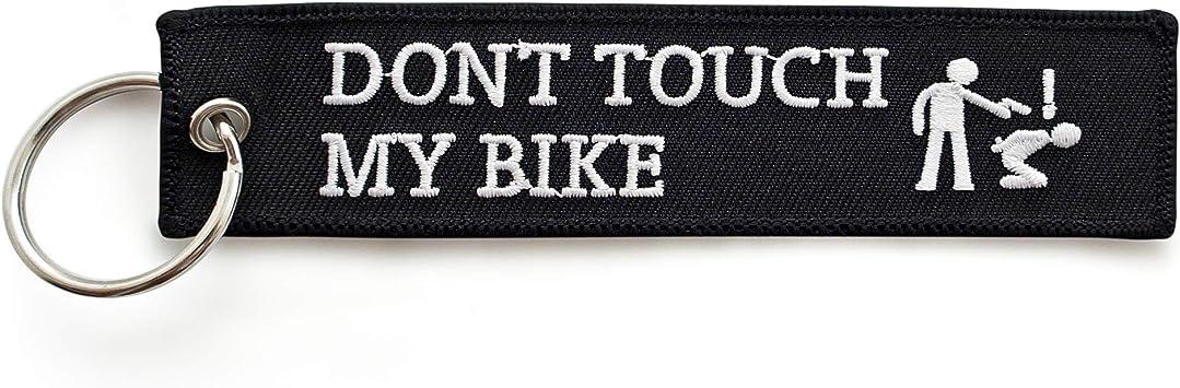 Renegade Dont Touch My Bike Motorrad Schlüsselanhänger Aus Stoff Mit Schlüsselring Bestickt Kratzfest 130 X 30 Mm Schwarz Ideal Für Ihr Motorrad Auto
