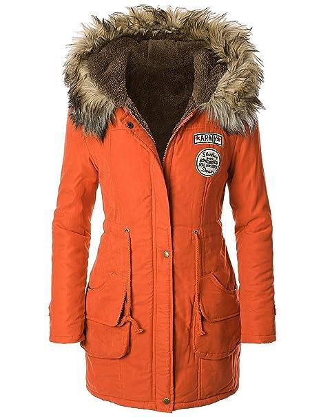 Chaqueta de invierno con capucha con borde de pelo, militar de Panda Cos naranja L: Amazon.es: Ropa y accesorios