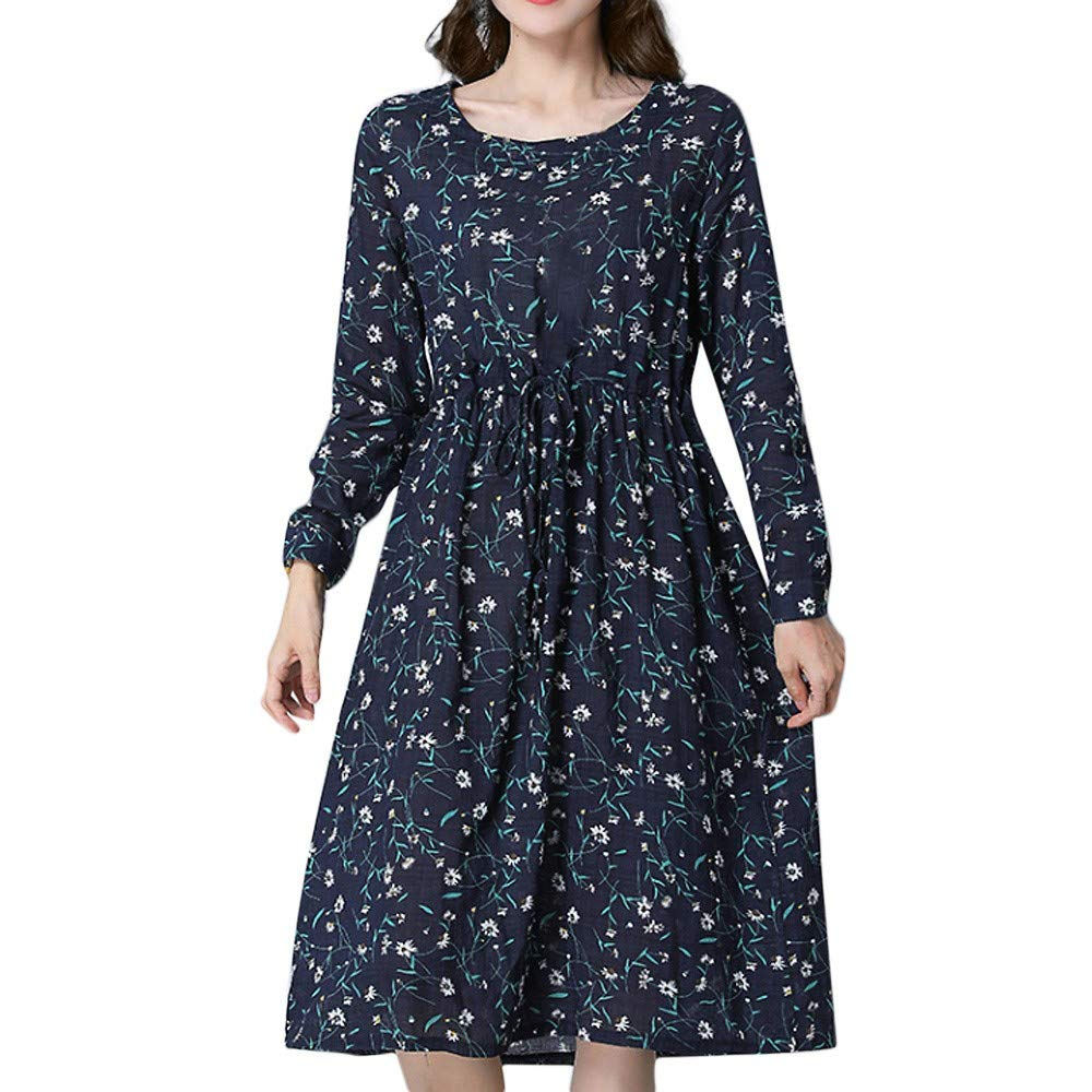 Womens Dress DEATU Clearance Ladies Fashion Long Sleeve Small floral Print Cotton Linen Loose Long Dress(Black,XL)