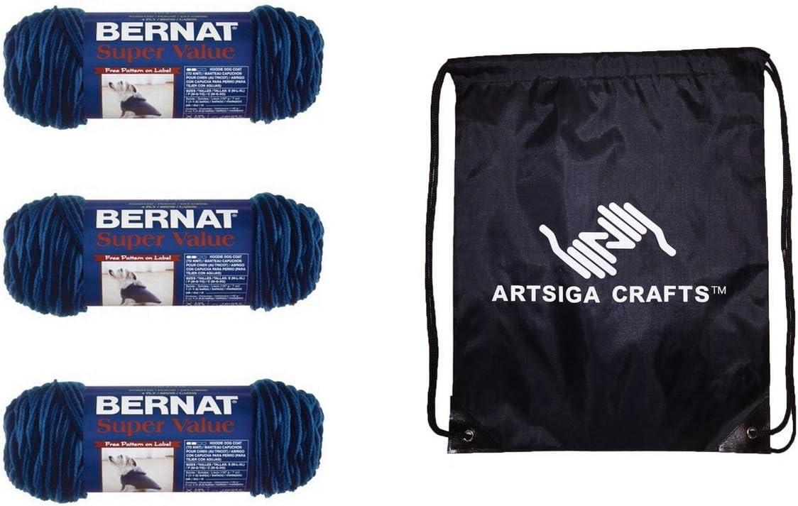 Bernat Knitting Yarn Super Value Ombre Denim 3-Skein Factory Pack (Same Dyelot) 164128-28115 Bundle with 1 Artsiga Crafts Project Bag