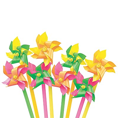 Fun Express - Mini Neon 2-Tone Pinwheels (6dz) - Toys - Value Toys - Pinwheels - 72 Pieces: Toys & Games