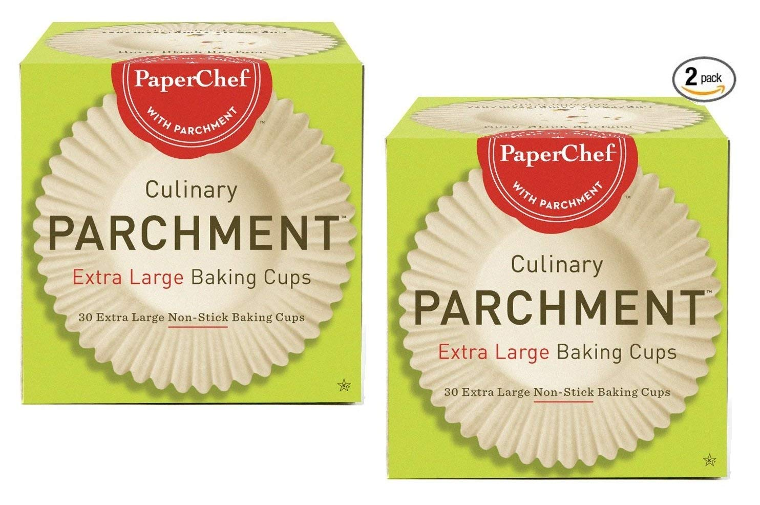 (2 Pack) Extra Large Paper Cupcake Liners / Baking Cups, 30-ct/Box PaperChef 05027