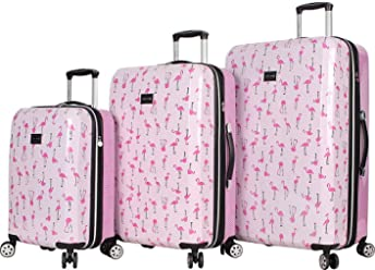 BETSEY JOHNSON Flamingo Strut 3 Piece Hardside Spinner Luggage Set (Flamingo