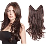 """HairPhocas 20"""" #2/30 Dark Brown Color Secret Hair Extensions Synthetic Curly Wave Hairpieces"""