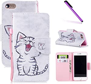 iPhone 6s Case,iPhone 6 Case,LEECOCO Fancy Print Floral Wallet Case with Card/Cash Slots [Kickstand] PU Leather Folio Flip Protective Case Cover for iPhone 6 / 6S (4.7 Inch) Smile Cat