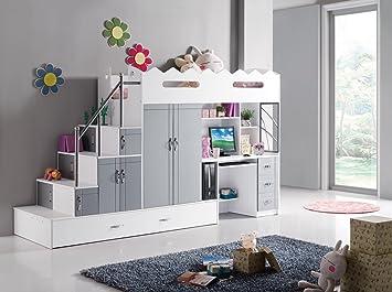 Etagenbett Mit Viel Stauraum : Amazon kinder etagenbett mit computer schreibtisch und viel