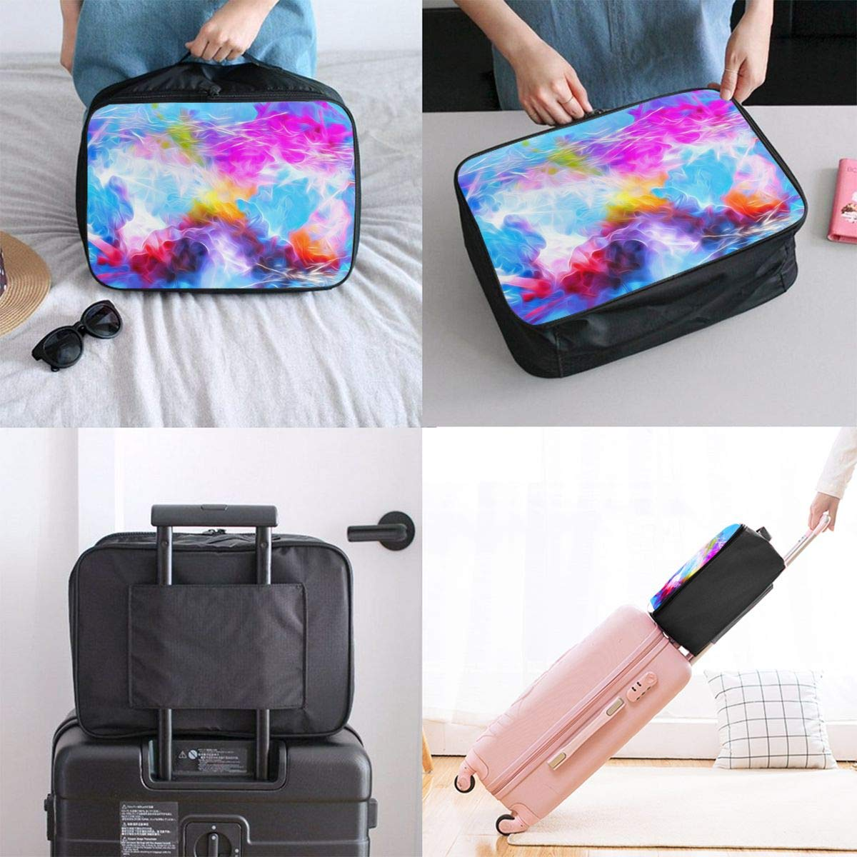 Watercolor Art Paint Splash Travel Lightweight Waterproof Foldable Storage Carry Luggage Large Capacity Portable Luggage Bag Duffel Bag