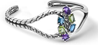 product image for Carolyn Pollack Sterling Silver Multi Gemstone Choice of 2 Color Combinations Infinity Cross Over Cuff Bracelet Size S, M or L