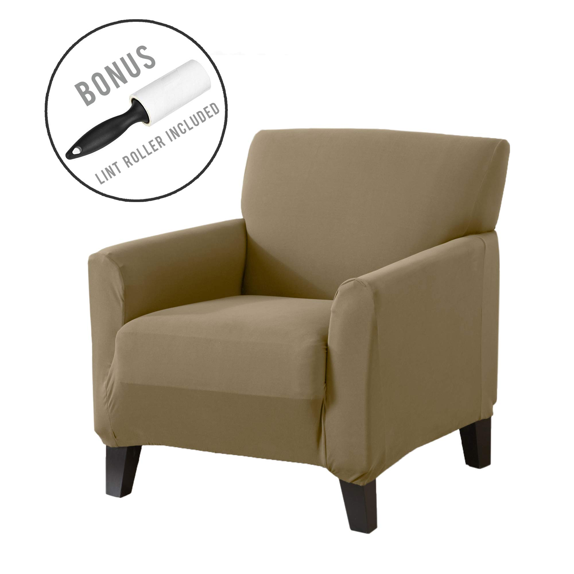 Great Bay Home Form Fit, Slip Resistant, Strapless Slipcover Includes Bonus Lint Roller. Furniture Protector Featuring Super Soft Jersey Knit Fabric. Seneca Collection (Chair, Warm Sand)