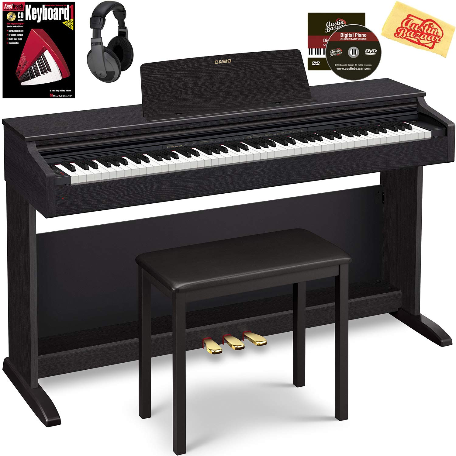 Casio AP-270 Celviano Digital Cabinet Piano - Black Bundle with Furniture Bench, Headphones, Online Lessons, Austin Bazaar Instructional DVD, and Polishing Cloth by Casio
