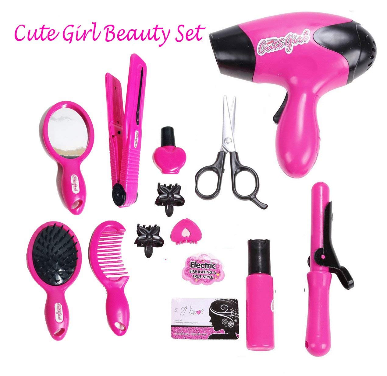 WG Toys Girl Make Up Toy Pretend Play Cosmetic Set, with Hair Dryer Curling Iron, Mirror and Other Fashion Accessories for Little Girl