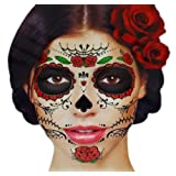Amazon Price History for:Glitter Red Roses Day of the Dead Sugar Skull Temporary Face Tattoo Kit - Pack of 2 Kits