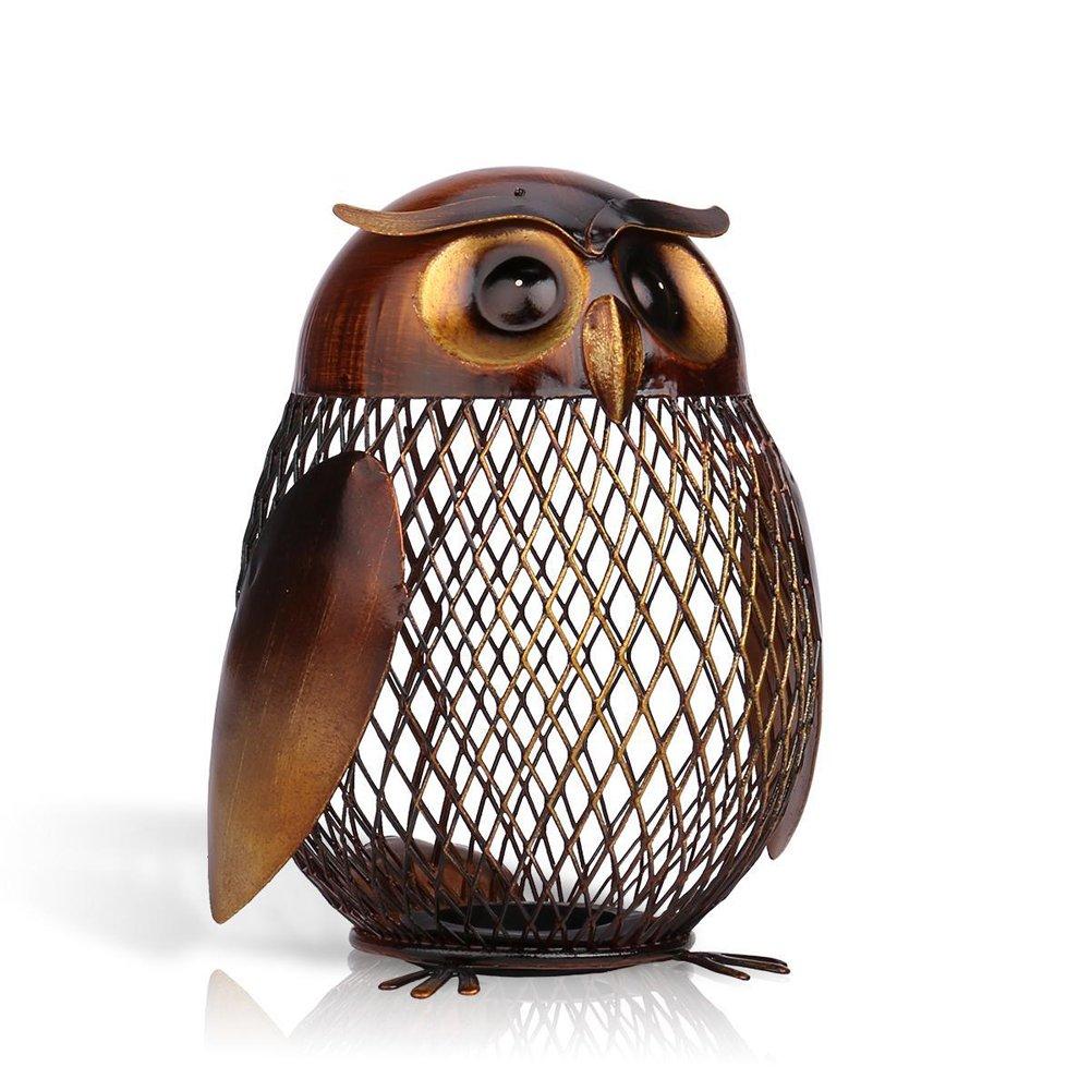 Myfei gufo salvadanaio, Animal Coin box Iron Art ornamento artigianale salvadanaio per la decorazione domestica