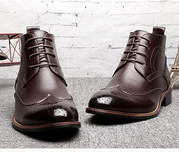 Sunny&Baby Zapatos de Hombre con Cordones de Oxfords Transpirables Botines de tacón Alto para Caballeros Resistente a la abrasión (Color : Brown,